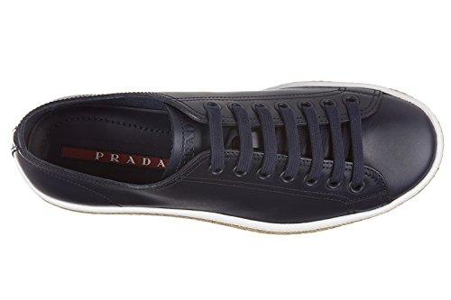 Chaussures Prada Sneakers Calf En Baskets Blu Cuir Homme HFqvdAF