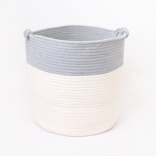 12 Inch White Handle (Large Cotton Rope Storage Basket With Handles |White & Grey 12