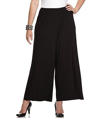 Alex Evenings Women's Plus Wide-Leg Pull On Dress Pants