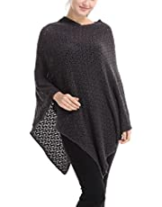 Ferand Elegant Crochet Knit V neck Oversized Poncho Cape Shawl Sweater for Women