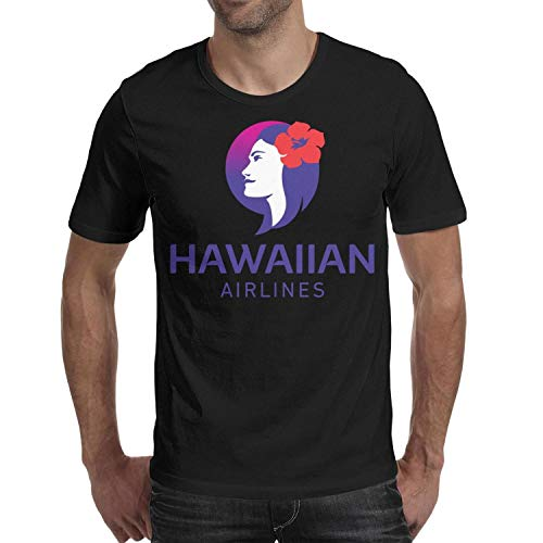 Men's t Shirts Black Vintage Short Sleeve Hawaiian-Airlines-logo-2017- tee ()