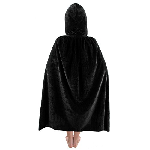 SUNYIK Unisex Kids Velvet Long Hooded Cloak Cape Halloween Party Role Cosplay Costumes,Black,L -