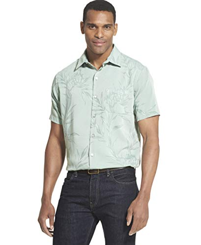 (Van Heusen Men's Air Tropical Short Sleeve Button Down Poly Rayon Shirt, Frosty Green, X-Large)