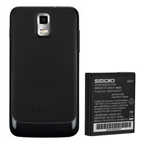 Skyrocket Extended Battery - Seidio BACY38SSSKY-BK Innocell 3800mAh Super Extended Life Battery for Samsung Skyrocket - Retail Packaging - Black