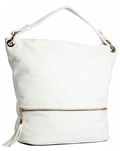 BHBS Bolso de Hombro para Dama en Imitación Piel con un Asa Superior 38x33x18 cm (LxAxP) Blanco - Off - White