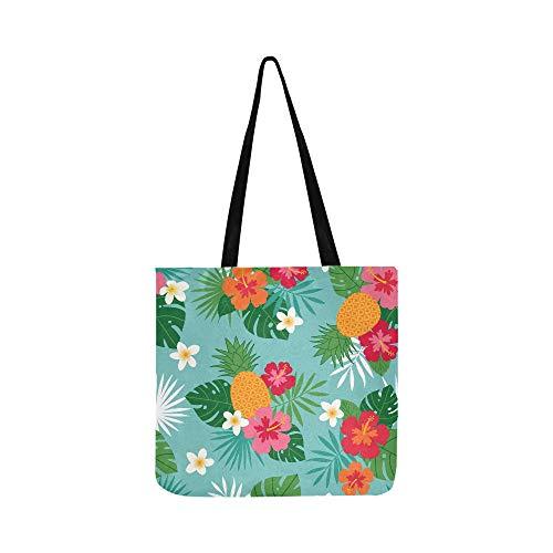Hibiscus Tote Plumeria Fourre Pour Main Ananas Palm Bandoulière tout Femmes Toile Et À Hommes Sacs Feuille Sac De Shopping U44qdrw
