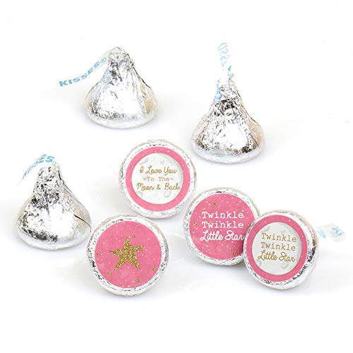Pink Twinkle Twinkle Little Star - Baby Shower or Birthday Party Round Candy Sticker Favors - Labels Fit Hershey's Kisses (1 Sheet of 108) ()