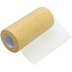 ULTNICE Glitter Tulle Rolls Sparkle Tulle Ribbon Roll Tulle Spool Material 6 Inch Gold