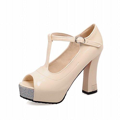 Carol Shoes Fashion Womens Buckle T-strap Peep-toe Elegance Platform High Chunky Heel Dress Pumps Shoes Beige SDIrQOR7