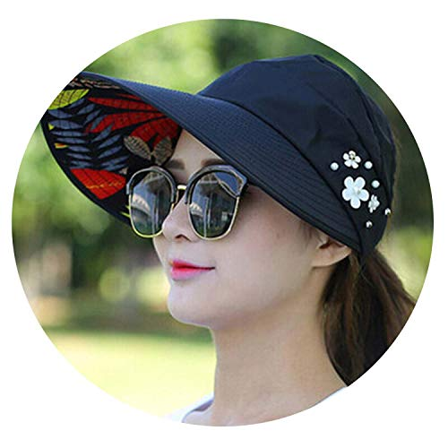 - Simply Q Visors Beach Hat Uv Protection Cap Black Casual Womens Summer Caps Ponytail Wide Brim Hat,5 Black