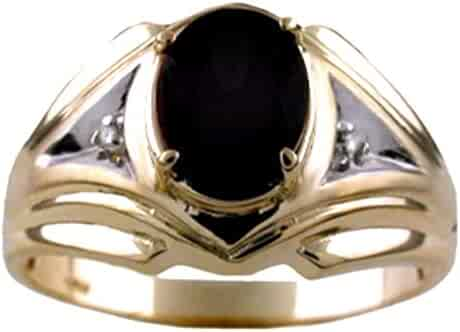 Mens Onyx & Diamond Ring 14K Yellow Gold