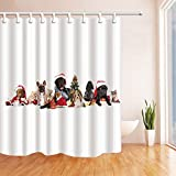 Rrfwq 3D Digital Printing Xmas Animals Decor Dog and Cat with Santa Hat Ne Year Shower Curtains Polyester Fabric Waterproof Bath Curtain 70.8 X 70.8 inches