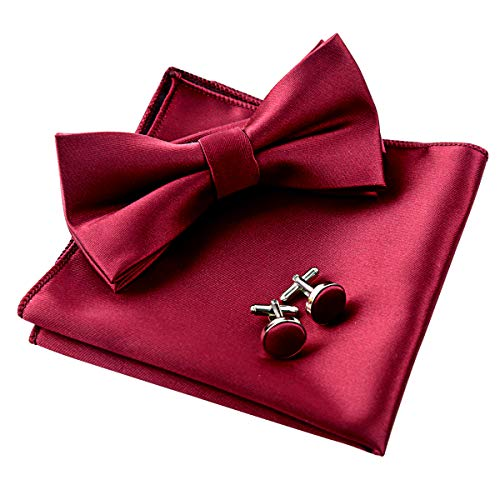 - Mens Tuxedo Bow Tie& Hanky& Cufflinks Set (Maroon)