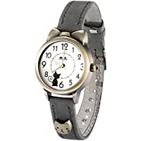 Fq-234 Soft Leather Strap Bowknot Cute Kitty Girl's Women's Students Quartz Wrist Watches Brown