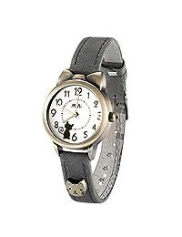 Fq-234 Soft Leather Strap Bowknot Kitty Design Students Girls Woman Quartz Wrist Watches Grey
