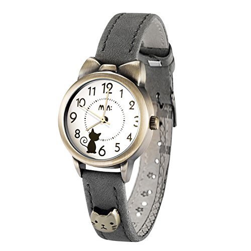 - Fq-234 Soft Leather Strap Bowknot Cute Kitty Girl's Women's Students Quartz Wrist Watches Grey