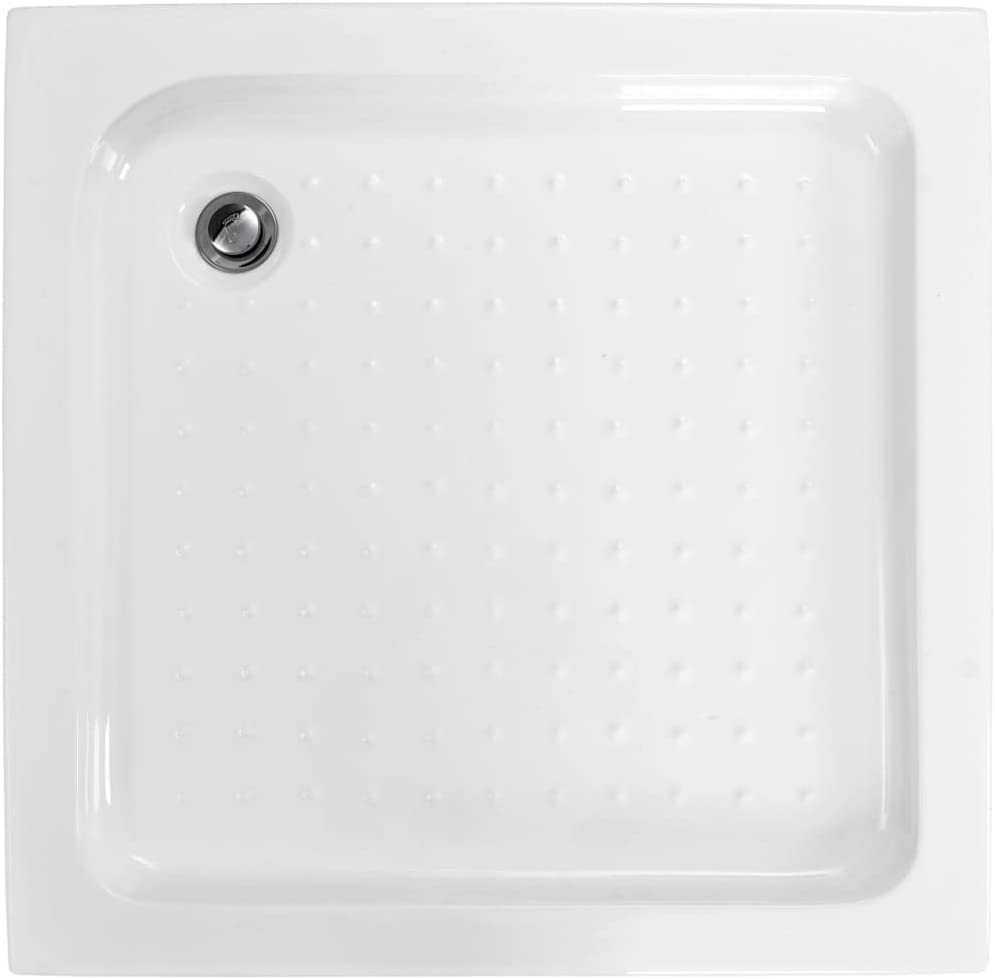 Tidyard Plato de Ducha acrílico Cuadrado Rectangular para Mamparas de Baño Blanco 80x80x13,5 cm: Amazon.es: Hogar