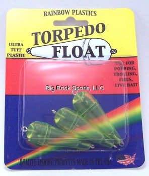 Rainbow Plastics Torpedo Float Fishing Equipment (3 Pack), 1/8 oz, Green (Torpedo Plastic)