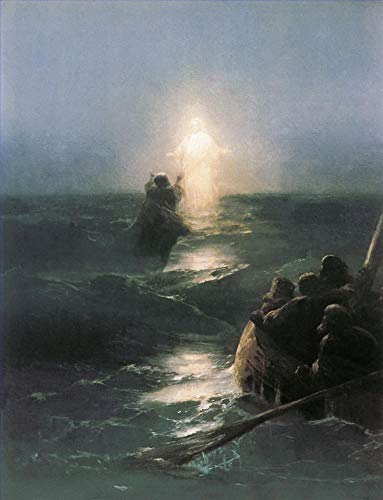$50-$2000 Handmade Oil Painting by College Teachers - Jesus Walks on Water Ivan Aivazovsky Religious Christian Canvas Art for Home Wall Decoration -Size 02]()