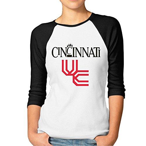 - GUC Women's 3/4 Sleeve T-shirts - University Of Cincinnati Bearcats Black XXL