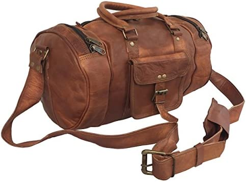 KK s 14 Inch Real Goat Vintage Leather GYM Bags Travel Luggage Bags