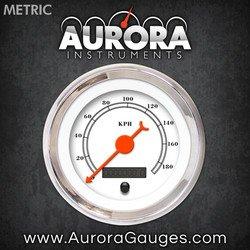 Aurora Instruments (GAR112ZMXHABBH) All American Classic White Speedometer Gauge