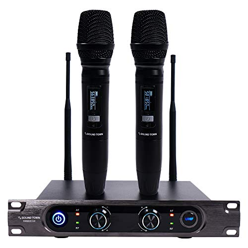 Sound Town Metal 40-Channel Rack Mountable UHF Wireless Microphone System with 2 Aluminum Rechargeable Handheld Wireless Mic for Church, Business Meeting, Outdoor Wedding and Karaoke (SWM22-U2HH)