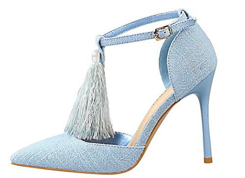 Anbover Femmes Sexy Cheville Sangle Gland Haute Talon Aiguille Robe Sandales Bleu