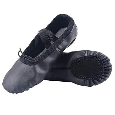 Nexete Leather Shoes Split-Sole Slipper Flats Ballet Dance Shoes for Toddler Girl Boy Kid Black Size: 1 Little Kid