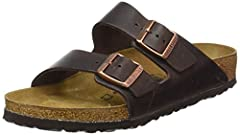 The ARIZONA Oily Leather habana 2 strap upper from BIRKENSTOCK with an orthotic footbed provides excellent arch and metatarsal support. Durable EVA outsole, cork footbed molds to each individual foot to provide a custom fit. This BIRKENSTOCK ...