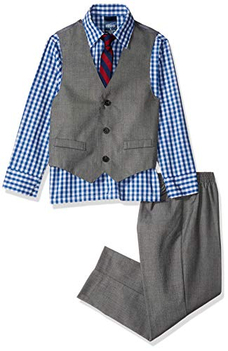 IZOD Boys' Little 4-Piece Formal Set with Shirt, Vest, Pants, and Tie, Medium Blue/Grey, 6