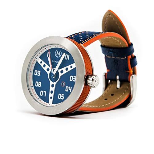 (Marchand Racing Watch | Debonair Collection | Unique Steering Wheel Dial | Swiss Ronda Quartz Movement | Scratch Resistant Sapphire Crystal | British Designed | Watch for Men | Large)