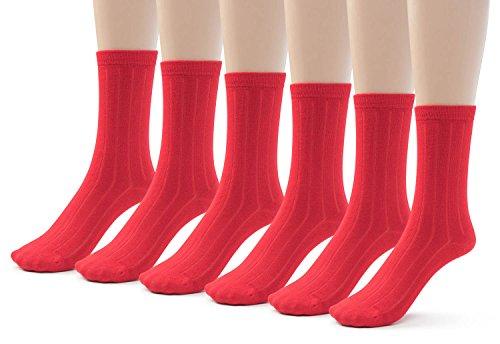 Silky Toes 6 Pk Bamboo Ribbed Boys Girls Crew Socks, Casual School Uniform Basic Socks (Medium (8-9), Red (6 Pack))