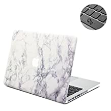 """Topinno®-2in1 White Marble-Hard Shell Case Print Frosted&Free Keyboard Cover Skin for Apple MacBook Pro 15"""" 15.4"""" Inch with Retina Display, Model: A1398"""