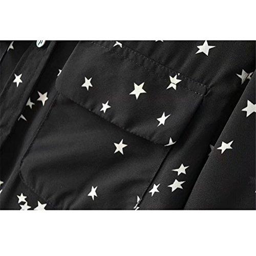 Colletto Heeecgoods Nero Dimensione con a Elegante Donna Maniche Estate Camicia Nero da Stampata Aderente L Stampata Colore Lunghe WrrZ4Xg