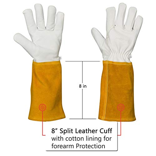 MIG TIG Welding Gloves | 16'' Soft Leather | Kevlar Stitching & Hand Lining Weld Glove (Medium) by Suse's Kinder (Image #4)