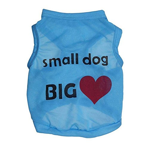 Ollypet Dog Cat Puppy Funny T-Shirt Small Dog Vest Apparel for Boys Pets Blue XS/S/M/L