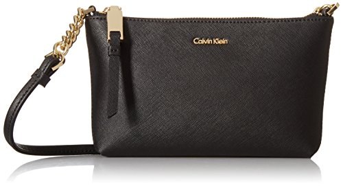 Calvin Klein Hayden Key Item Saffiano Top Zip Chain Crossbody, Black/Gold ()