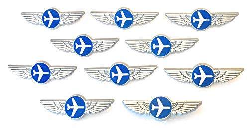 Aviator Kids Pilot Wings Plastic Pins Pinbacks Badges Lot of 10 Party Favor Pins Sliver