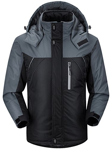 Winter Jacket Waterproof (CIOR Men and Women Snow Jacket Windproof Waterproof Ski Jackets Winter Hooded Mountain Fleece Outwear,CAND109-Black-5XL)