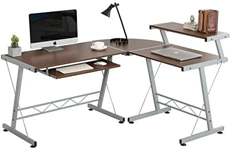 L-Shaped Corner Computer Desk Study PC Table Workstation Home Office Furniture