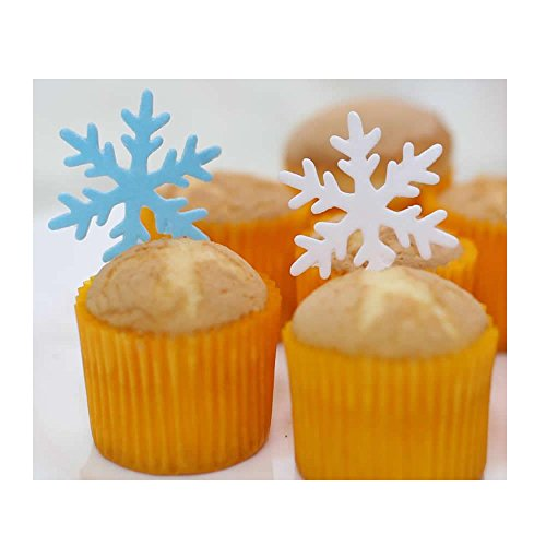 GEORLD Set of 48 Edible Snowflakes Cupcake & Cake Toppers Christmas Winter Party Decoration 2 Colors(White and Blue) by GEORLD (Image #1)