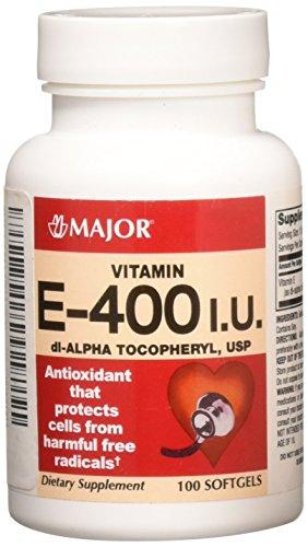 - Major Pharmaceuticals 237503 Vitamin E Softgel Di-Alpha Tocophery, 400IU, Clear Yellow (Pack of 100)