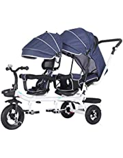 Trike Double Baby Stroller, 4 in 1 Portable Kids Trike Twin Trolley Bicycle for 1-7 Years Old, 3 Wheels Stroller Bike with Removable Canopy and Storage Basket