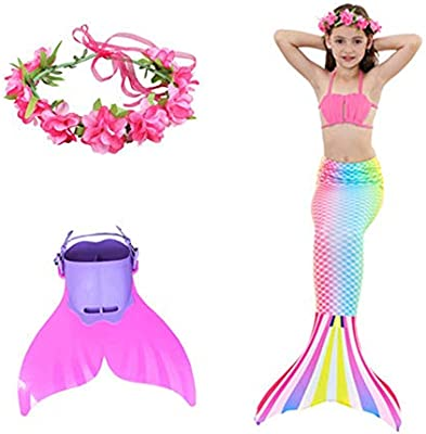 Amazon.com: Traje de baño de cola de sirena bikini de tres ...