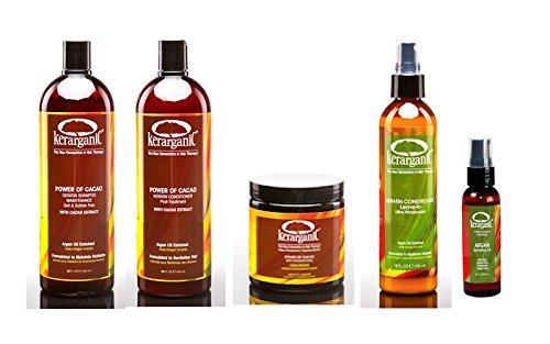 ORGANIC POST-TREATMENT KERATIN SET POWER OF CACAO (Shampoo 32oz + Conditioner 32oz + Mask 8oz + Leave-In 8oz + Argan Oil 2oz)