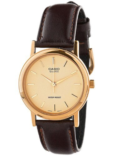 American Apparel MTP-1095Q-9A Casio Analog Leather Strap Watch -Brown / Gold Lines / Gold (Watches Brown Leather Mens Gold)