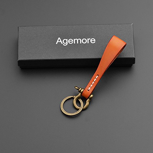 - Leather KeyChain Leather Key Ring, Cowhide Smooth Soft Classic Key Chain Fob for Man and Women By Agemore (Light Brown)