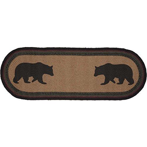 VHC Brands Rustic & Lodge Tabletop & Kitchen - Wyatt Tan Bear Oval Jute Runner, 13x36
