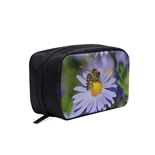 (Honey Bee Pollinate Yellow Flower Portable Travel Makeup Cosmetic Bags Organizer Multifunction Case Small Toiletry Bags For Women And Men Brushes Case)